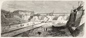 Imperial dock basin building in Cheerbourg, France. Created by Rouargue, published on L'Illustration, Journal Universel, Paris, 1858