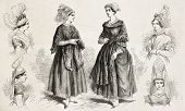 Traditional costumes and bonnets of Eure and Calvados women, France. Created by Janet-Lange after d'Hastrel, published on L'Illustration, Journal Universel, Paris, 1858