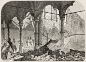 Antwerp exchange destroyed by fire in 1858. Created by Ferat after photo of Dupont, published on L'I