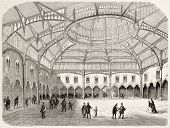 Antwerp stock exchange old view (summer 1858). Created by Rouargue, published on L'Illustration, Jou