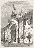 Industry and fine art expo in Toulouse: entrance in rue Neuve-Saint-Aubin.  Created by Freeman, published on L'Illustration, Journal Universel, Paris, 1858
