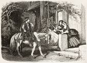 German scene: horseman and two women. Created by Ferogio and Dumont, published on L'Illustration, Journal Universel, Paris, 1858
