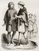 Medieval bourgeois and craftsman old engraved portrait. Created by Willemin, published on Magasin Pittoresque, Paris, 1844