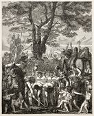 Romans under the yoke after battle of Agen, old illustration. After painting of Gleyre, published on