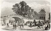 Tuileries garden gate old illustration, Paris. Created by Provost, published on L'Illustration, Jour