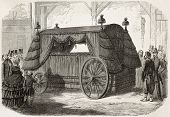Napoleon funeral carriage old illustration. Created by Gaildrau,  published on L'Illustration, Journ