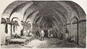 Dormitory in Fort-Neuf (military prison), Algiers, old illustration. Created by Gaildrau, published on L'Illustration, Journal Universel, Paris, 1858