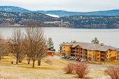 Winter view at Okanagan lake in Kelowna, British Columbia, Canada.