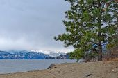 Gorgeous view at winter Okanagan Lake, British Columbia, Canada.