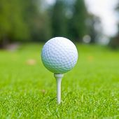 stock photo of flag pole  - Golf ball on tee over a blurred green - JPG