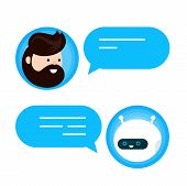 Cute Smiling Chat Bot Is Written Off With A Person Man. Vector Flat Modern Style Cartoon Character I poster