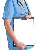 a doctor whit a clipboard a over white background