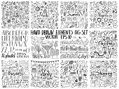 Big Collection Of Hand Drawn Elements. Doodle Flowers, Food, Holidays, Business, Sport And Other Cre poster