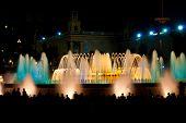 Magic fountain of Montjuic light show at Plaza Espanya in Barcelona. poster