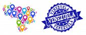 Compositions Of Colorful Map Of Venezuela And Grunge Stamp Seal. Mosaic Vector Map Of Venezuela Is D poster