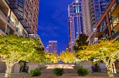 Fantastic view of modern city at night in Seattle, WA.