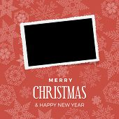 Christmas And Winter Background With Photo, Blank Frame. Vector Template With Picture To Insert poster