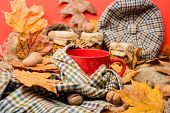 Mug Cozy Aromatic Tea Beverage In Scarf And Treats. Cozy Autumnal Atmosphere. Warming Beverage Conce poster