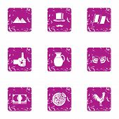 Pleasant Evening Icons Set. Grunge Set Of 9 Pleasant Evening Vector Icons For Web Isolated On White  poster