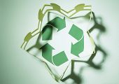 Paper chain surrounding the recycle symbol.