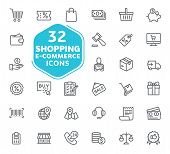 E-commerce, Online Shopping And Delivery Elements Vector Icons. Outline Icons Collection. Thin Lines poster