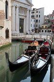 Two gondolas in a small chanel (Venice, Italy)