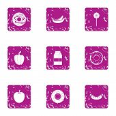 Nutritional Icons Set. Grunge Set Of 9 Nutritional Vector Icons For Web Isolated On White Background poster