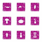 Private Land Icons Set. Grunge Set Of 9 Private Land Vector Icons For Web Isolated On White Backgrou poster