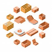 Packing Box Icon Set. Isometric 3d Set Of Packing Box Icons For Web Design Isolated On White Backgro poster