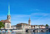 Zurich cityscape (Limmat river & Fraumuenster)