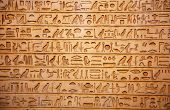 stock photo of hieroglyphs  - old egypt hieroglyphs carved on the stone - JPG