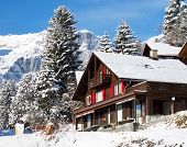 Winter in swiss alps (Braunwald, Glarus, Switzerland)