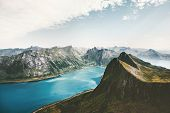 Norway Landscape Mountains And Fjord Aerial View Travel Summer Vacations Scenic Senja Islands poster