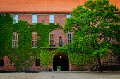 Courtyard In Stockholm City Hall Building (stadshuset) With Ivy Covered Brick Walls And Tiled Roof T poster