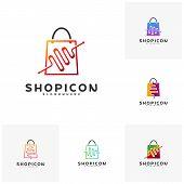 Set Of Shop Pulse Logo Template Design Vector. Pulse Logo poster