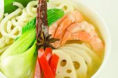udon noodle soup with shrimp and lotus root