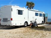 picture of motor coach  - photographed motor home camping on the beach in Florida - JPG