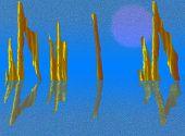 Future Ruins In Light Blue Tones