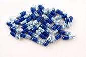 blue capsules of granulated mecine potassium