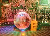 foto of potentiometer  - electronic printed circuit board with   technology style against fiber optic background - JPG