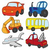Cartoon Cars Collection. Cartoon Cars Collection. Vector Of Transportation Theme With Car, Truck, Bu poster