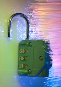 code lock against fiber optic background