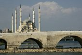 mosque with old bridge in Adana, Turkey