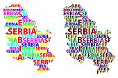 Sketch Serbia Letter Text Map, Republic Of Serbia - In The Shape Of The Continent, Map Serbia - Colo poster