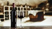 Red Wine In Glasses Against The Background Of The Tasting Room, Wine Tasting At The Winery poster