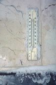 close up shot of thermometer in winter