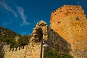 Kizil Kule Tower. The Red Tower Is A Famous Landmark On The Territory Of The Old City Alanya. Turkey poster