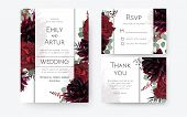 Wedding Invite, Invitation Card, Rsvp, Thank You Cards Floral Design. Vintage Red Rose Flowers, Burg poster