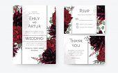 Wedding Invite, Invitation Card, Rsvp, Thank You Cards Floral Design. Vintage Red Rose Flowers, Burg poster