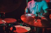 Professional Drum Set Closeup. Drummer With Drums, Live Music Concert. poster